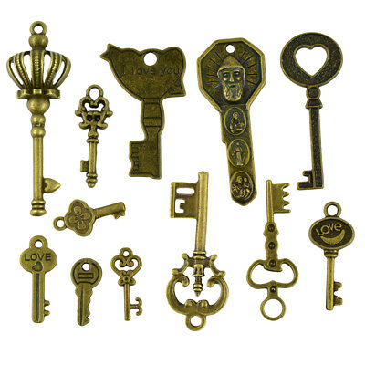 50pcs Bronze Key Pendant DIY Findings Jewelry Making for Necklace Keychain