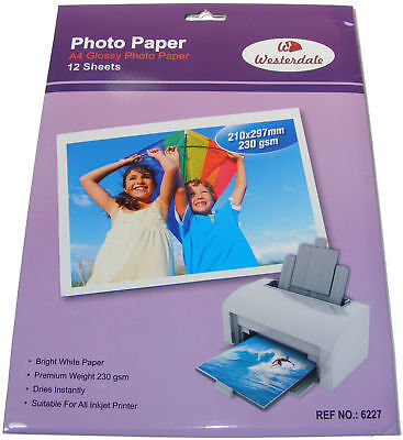12 Sheets A4 Gloss Photo Paper 235 gsm Inkjet Printer Photo Paper Colour