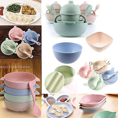Wheat Straw Food Rice Bowls Spoons Sets Fruit Snack Plate Seasoning Sauce Dish