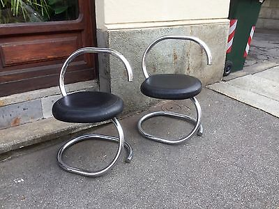 Giotto Stoppino leather and crhome spiraled chairs 1970