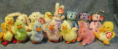 W-F-L TY Basket Beanies Bunny Duck Chick Teddy Selection Stuffed toy Easter