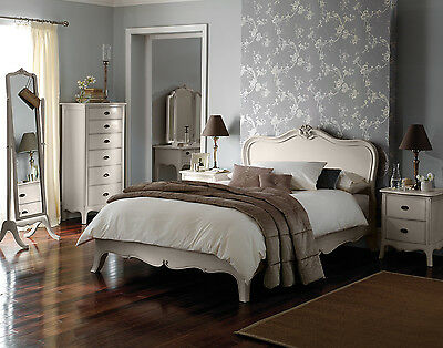 Elegant French Taupe Mahogany Wood Bed Frame (Double, King, Superking)