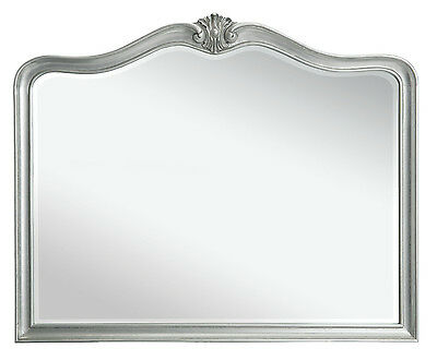 Elegant French Large Silver Solid Wooden Wall Mirror