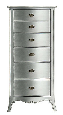 Elegant French Silver Solid Wooden 6 Drawer Tall Boy / Tall Chest Of Drawers