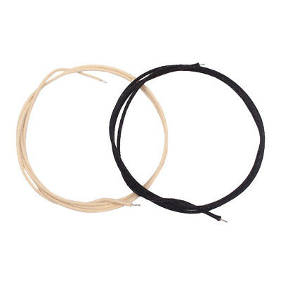 Pack of 2 Cotton Cloth PushBack Guitar Wire Copper 22 awg Black/White