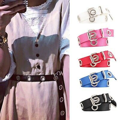 Womens Studded Grommet Holes Single Pin Buckle Canvas Nylon Belt 23mm Waistband