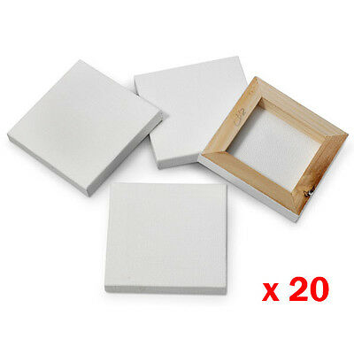 20 x Blank Stretched Mini Canvas Square Artists Canvases Frame Acrylic Oil Paint