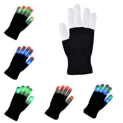 Fashion Cool LED Rave Flashing Gloves Glow 7 Mode Light Up Finger Lighting FO