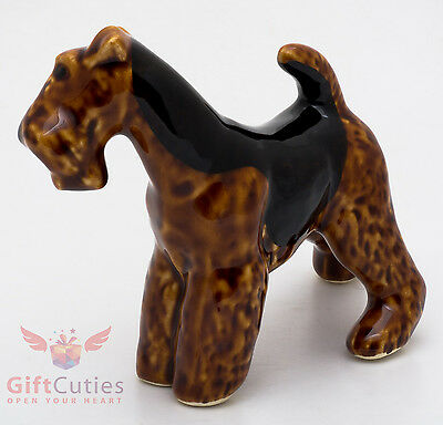 Porcelain Figurine of the Airedale Terrier Dog