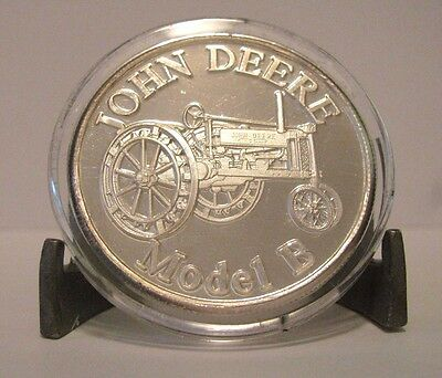 """John Deere Model """"B""""  Tractor .999 Fine Silver Round 1 Troy Oz Collector Coin jd"""