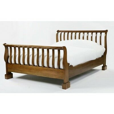 Railed End Mahogany Wood French Sleigh Bed (Reduced by £250 ~ RRP £799)