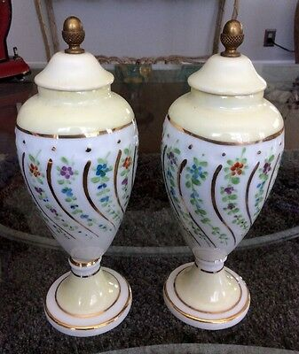 "Beautiful Pair Sevres Swirled Floral Porcelain Urns 7.5"" France Signed XLNT!"