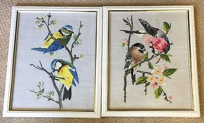Pair Of Embroidered Bird Pictures Blue Tits & Chaffinch