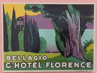 Luggage Label Gd. Hotel Florence, Bellagio - Italy