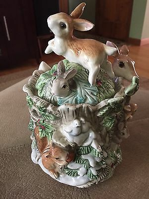 Fitz And Floyd Classics Peaceable Kingdom Winter Deer Bunnies Lidded Box