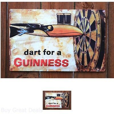 Metal Sign  Dart Beer Sign 17x11 Garage Bar Tin Man Cave Vintage Look
