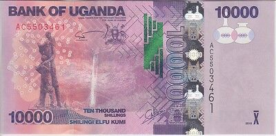 Uganda Banknote P62, 10000 10,000 10.000 Shillings 2010, Uncirculated