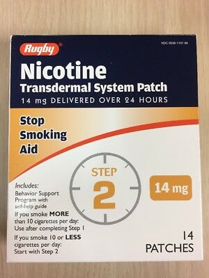 14 STEP 2  Rugby Stop Smoking Aid EXP 12/2018 Nicotine Transdermal Patches