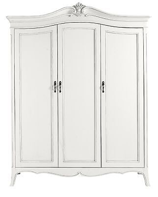 Antique White Hand Carved French Style 3 Door Mirrored Wardrobe / Armoire