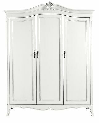 Ava Antique White Hand Carved French Style 3 Door Mirrored Wardrobe / Armoire