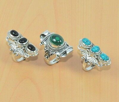 Wholesale 3Pc 925 Solid Sterling Silver Black Onyx,turquoise Big Ring Lot L096