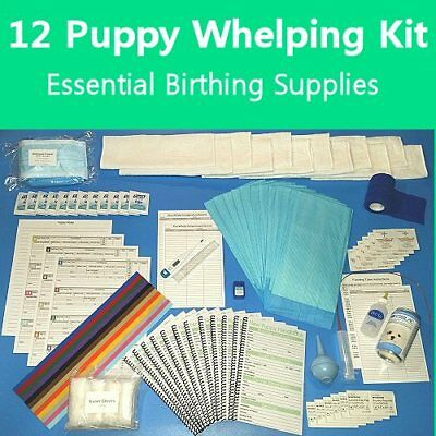 12 Puppy Birthing Supply Kit Hand Book Health Recs ID Collars Pads Feeding Tube