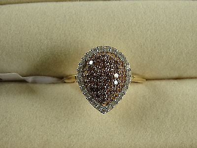 1/2Ct Natural Champagne & White Diamond Cluster 14K Y Gold/925 Ring Size N