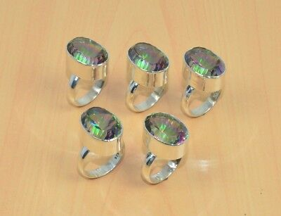 Wholesale 5Pc 925 Solid Sterling Silver Natural Faceted Mystic Topaz Ring Lot