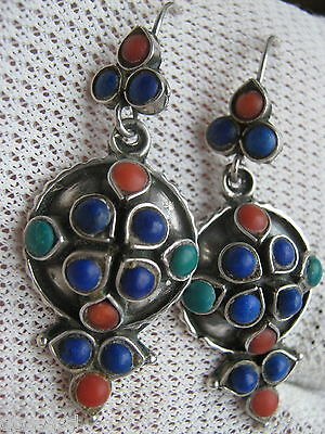 Vintage Sterling Silver Lapis Lazuli - Coral- & Turquoise Earrings  Hook Through