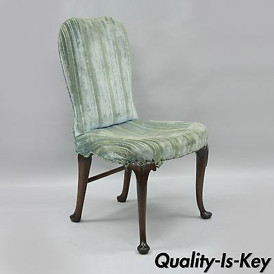 Antique Mahogany Wood Queen Anne Style Upholstered Dining Side Desk Chair B