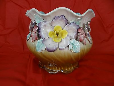 French Fives-Lille Majolica Cache Pot - Centerpiece Jardiniere - Flowers