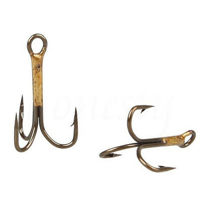 20/50X Brown Fishing Hook Sharpened Tackle Treble Hooks  2/4/6/8/10 Fishhook