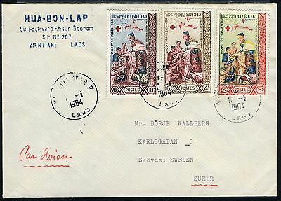 Laos 1964 Luftpost-Brief Rotes Kreuz Red Cross Vientiane Schweden / 32