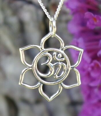 """925 Sterling Silver Lotus Flower Necklace Pendant Ohm Om Fine Yoga Jewelry 18"""""""