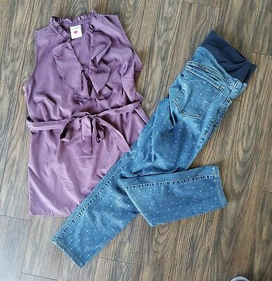 Maternity outfit small size 6 Old Navy stretch jeans Two Hearts puple tank top