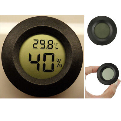 New Digital Cigar Humidor Hygrometer Thermometer Temperature Round Black