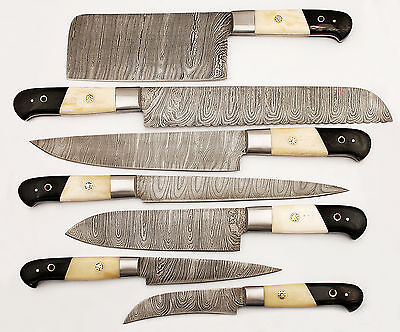 DAMASCUS KITCHEN KNIVES SET CUSTOM MADE BLADE 7 Pc's. . MH-0181-BH