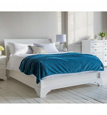 French White Solid Wood Low Footboard Sleigh Bed (King, Superking)