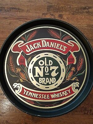 Vintage Jack Daniels  No 7 Brand Tennessee Whiskey Round Metal Tray/Platter Bar
