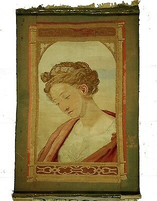 An Antique Signed Gobelins Tapestry Depicting a Lady