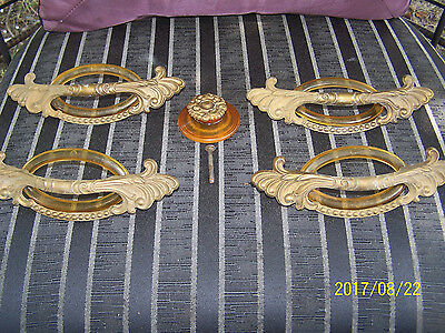 SET OF Vintage Art Deco Waterfall Drawer Handles with Nice Trim