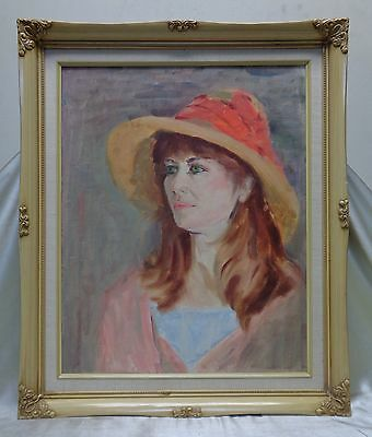 Estate Found Vintage Young Woman Portrait Oil Painting on Canvas Panel (Framed)