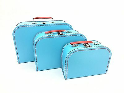 Kids Dress-Up 3 Piece Luggage Set in Soft Blue 8""