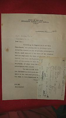 Vintage1920 NY State Narcotic Notice w/Attached Heroin and Codeine Prescriptions