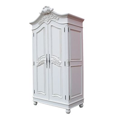 Mahogany Wood Carved French Chateau White Double 2 Door Armoire / Wardrobe
