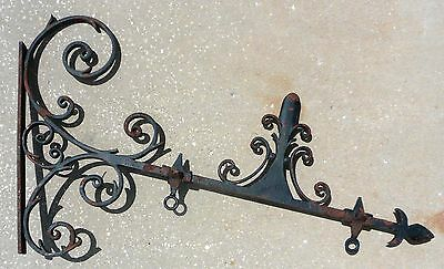 """Antique American Arts & Crafts Wrought Cast Iron Trade Sign Bracket 41"""" x 26 Lbs"""