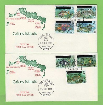 Caicos Islands 1981 Fish set of seven on two First Day Covers