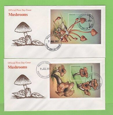 Ghana 1997 Mushrooms miniature sheets on two First Day Covers