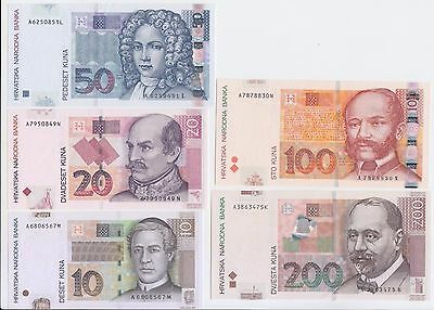 Croatia Banknote P#set 10-20-50-100-200 Kuna 2001-2002, Uncirculated