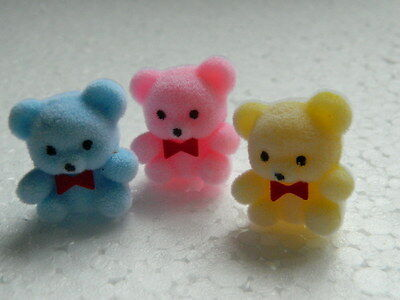(M2.29) Dolls House Pack Of Three Teddy Bears (Pink,blue,yellow)